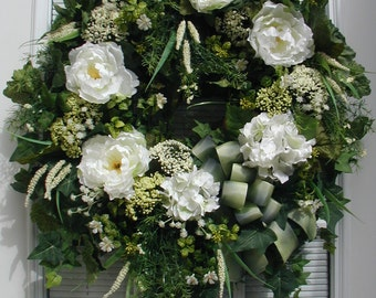 Summer Wreath Spring Wreath White Peonies Hydrangeas Large Elegant Floral Decor Hanging Decoration Fireplace Grapevine Front Door Wreath