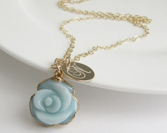 Aqua Blue Chalcedony Flower Necklace, Unique Gift Ideas, Gold Rimmed Pendant Necklace, Initial Jewelry, Gold Disc Necklace, 14kt Gold Filled