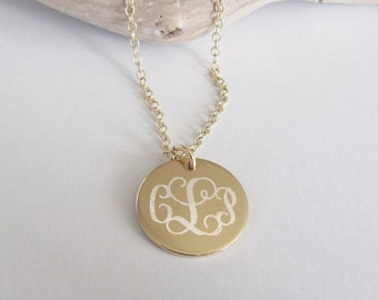 """Personalized Disc Necklace, 5/8"""" 14kt Gold Filled Disc, Monogram Necklace, Keepsake Necklace, Bridesmaid Gift, Classic Necklace, Engraved"""
