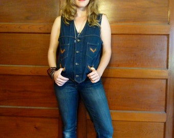 SALE--20% OFF Listing Price--Denim and Leather Forever Vest For the Ones Who Know