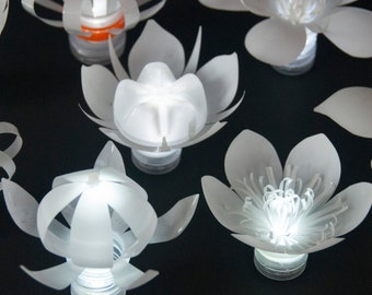 Set of 8 LED Plastic Bottle Flowers (one in each style)