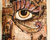 Antique Eye Of Ra Egyptian Eye Watercolor Original Painting