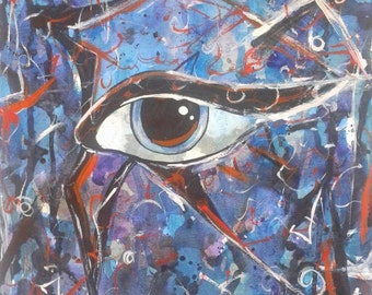 Indigo Blue & Rust Egyptian Eye Watercolor Painting