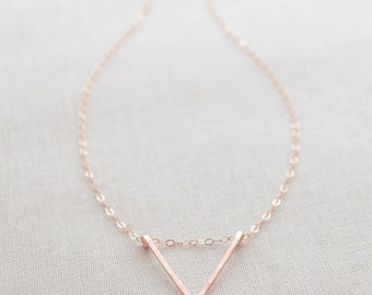 Handmade Triangle Necklace, Unique Arrow Necklace, Simple Geometric Shape Necklace, Sterling Silver, Rose Gold Filled, Olive Yew - 1135