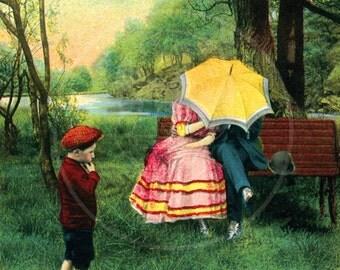 Sillies...  - 10x16 Giclée Canvas Print of a Vintage Postcard