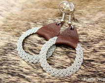 Nordic Viking Jewelry ASGARD Swedish Lapland Sami Earrings in Antique Brown Reindeer Leather and finest braided Pewter Wire Thread