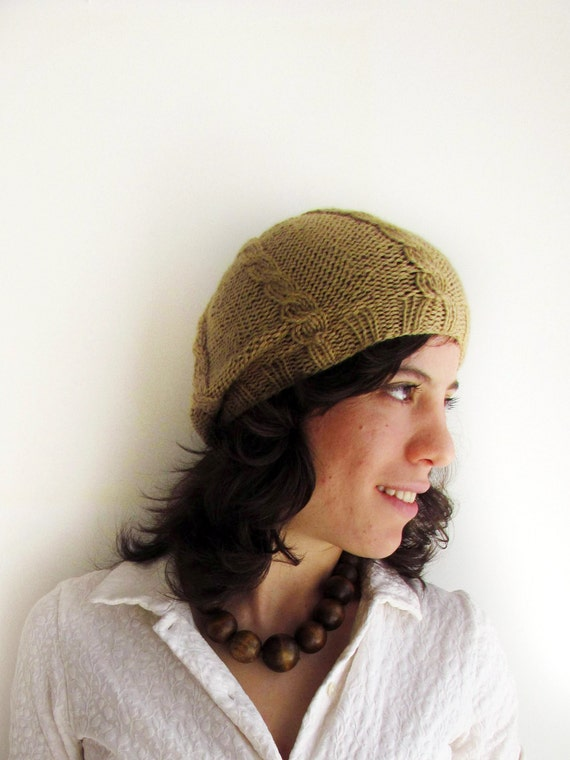 Beige slouchy hat with cables - handknit hat
