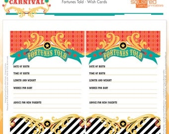 Circus Baby Shower Wish Cards - Cirque du Bebe Printable Shower - Vintage Carnival Baby Shower - Fortunes Told Printables - Instant Download