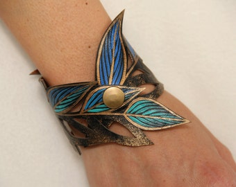 Faux Leather Leaf Cuff - Turquoise Ombre Painted Cuff, Gifts for Her