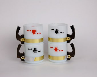 Siesta Ware Milk Glass Card Mugs with Wood Handles