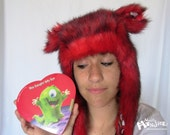 Fuzzy Aviator hat, Red Husky hat, Hearts & Chocolate lining, Red tipped fur, earflap fur hat, raverwear, Burning Man, Candy Lover