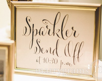 Sparkler Send Off Sign - Sparklers Wedding Reception Signage - Cute Favor Table Sendoff Sign with Time - Matching Numbers Available SS07