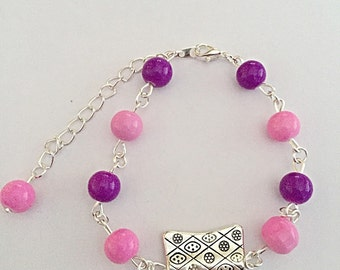 Bead Link Bracelet - Pink Glass Beads - Purple Glass Beads - SALE