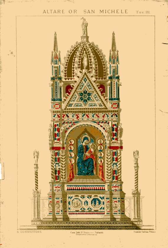 1800s vintage architectural print altare san michele color for Print architectural drawings