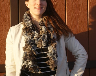 Ruffled Scarf Shades of Grays and Browns Fashion Scarf