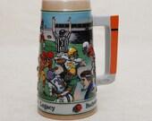 Beer Stein: Budweiser - Football, Gridiron Legacy - 1990 - Ceramic Mug, Gift for Him, Large Stein, Wrap around 3-D Design, Leatherheads,