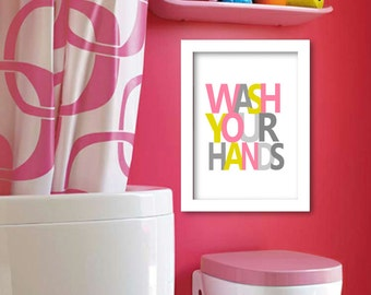 Wash your hands art print, kids bathroom wall decor