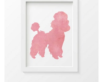 Pink Poodle Print, Poodle Silhouette, Modern Wall Decor, Nursery Wall Decor
