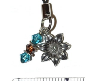 Flower Crystal Charm for Cell Phone, Purse, Zipper Unique Gifts Small Gifts for Her