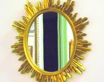 Mid Century Sunburst Star burst Mirror Gold French Ornate Framed Oval - Large Syroco - Treasury Item