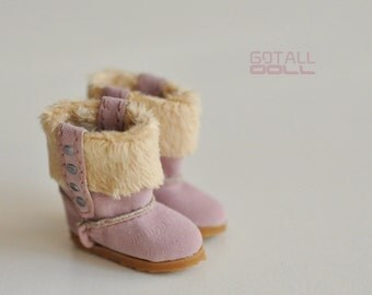 GOTALL doll Fluffy Snowy Boots for Blythe doll - doll shoes - Pink