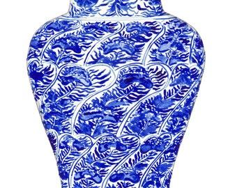 Blue and White Ginger Jar Vase No. 5 - Original Watercolor 8 x 10 - Cobalt Home Decor Porcelain Chinoiserie Chinese Antique Ceramics Ming
