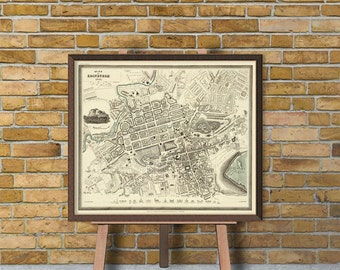 Vintage map of Edinburgh   - City map print - Edinburgh map archival reproduction