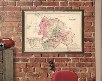 Richmond map - Vintage map of Richmond - Antique Richmond city map Print