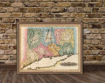 Connecticut  map  - Vintage map of Connecticut  fine reproduction