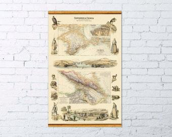 Marvelous antique Caucasus map - Old map of Crimea  - Archival fine print - Illustrated map