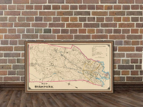 Vintage map of Stamford  - Old city map archival print - Stamford map