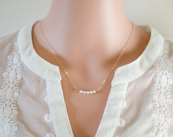 Dainty Pearl Necklace - Choker Necklace | 14k Gold Filled Sterling Silver Rose Gold Filled | White Pearl | Delicate Bridesmaids Necklace