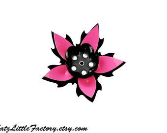 Large Black and Pink PVC Cyber Flower Spiky Studded Hair Clip