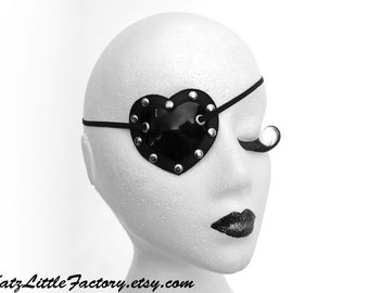 Black Heart Shaped Eye Patch Shiny PVC