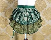 "ON SALE! Steampunk 2 Tier Bustle Belt Top Skirt - Sz. XS/S - Green, Gold, & Ivory- Best Fits Up to 38"" Waist or Upper Hip"