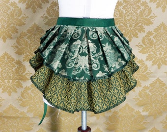 "ON SALE! Steampunk 2 Tier Bustle Belt Top Skirt - Sz. XS/S - Green, Gold, & Ivory- Best Fits Up to 38"" Waist or Upper Hip"