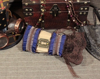 Steampunk Pleated Taffeta and Lace Keyhole Single Wrist Cuff -- Ready to Ship -- Camel Striped Damask with Blue and Brown