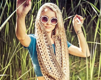 Crochet Infinity Scarf. Gypsy River. Infinity Scarf. Cowl Hood. Hippie. Boho. Festival. Spirit Hood. Net Scarf. Wrap Scarf. Summer Knit.