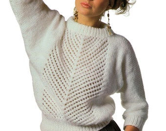 Instant Download PDF Vintage Eighties Easy Dolman Sweater Knitting Pattern