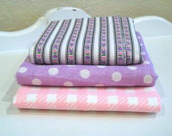 Vintage Fabric Lot - Pink & Purple Pastels - Cotton Scrap Bundle - 3 Large Pieces - Retro Sewing Material