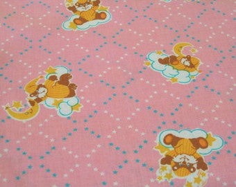 """Vintage Fabric - Teddy Bears in Pajamas on Pink - By the Yard x 44""""W - 70's - Retro - Sewing Material - Craft Supply - Yardage"""