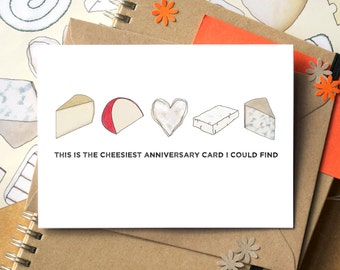 Cheesy Anniversary Card - Funny Anniversary Card - card for cheese lover - gay anniversary card - lesbian anniversary card - boyfriend card