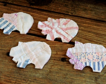 Patchwork Pig Appliques, Feedsack Cutter Quilt Piggie Cutouts, Vintage Quilted Fabric Primitive Scrapbook Embellishments itsyourcountry