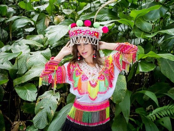 Hmong Full Dress /Ethnic/ Embroidery/Tribal/Traditional/Beaded shirt/Heart