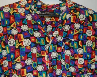 Guess Georges Marciano Button Up Shirt Black Neon Rainbow Diamonds Abstract Bejeweled 80s 90s Vintage