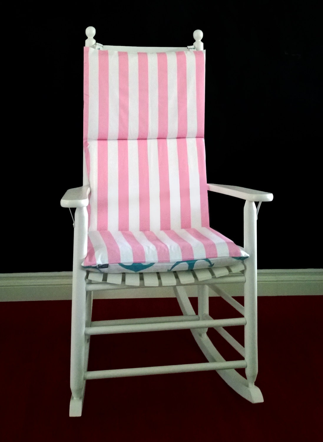 ON SALE Rocking Chair Cushion Cover Pink Stripe Blue