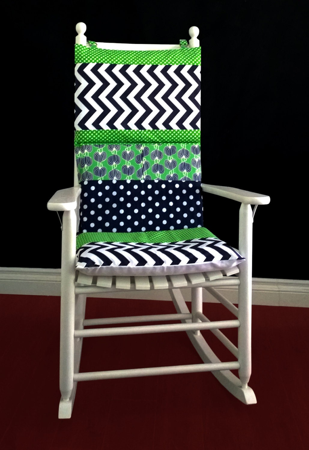 Rocking Chair Cushion Cover Blue Green Polka Dot Chevron
