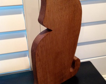 Wood Mod Cat Silhouette book end free standing art