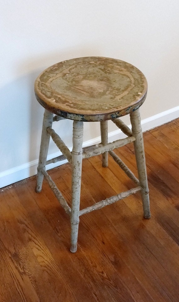 Stool Antique Wooden Rustic Farmhouse Bar Counter Early
