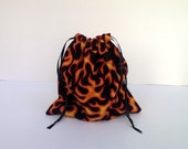 Orange Flame Fabric Gift Bags, Upcycled, Reusable 9 X 9 inches